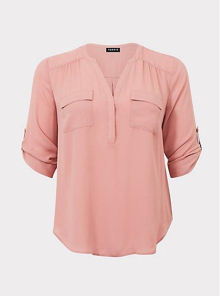 Harper - Dusty Pink Georgette Pullover Blouse, PINK ASH, hi-res