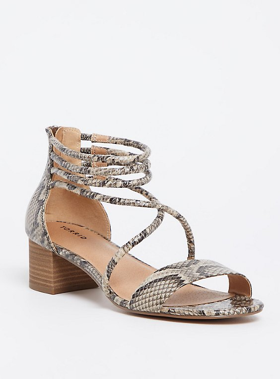 Snakeskin Print Faux Leather Strappy Sandal (WW), , hi-res