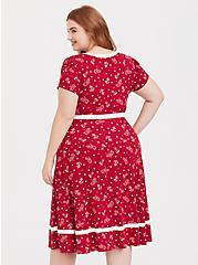 Plus Size Red Anchor Print Skater Dress, MULTI, alternate