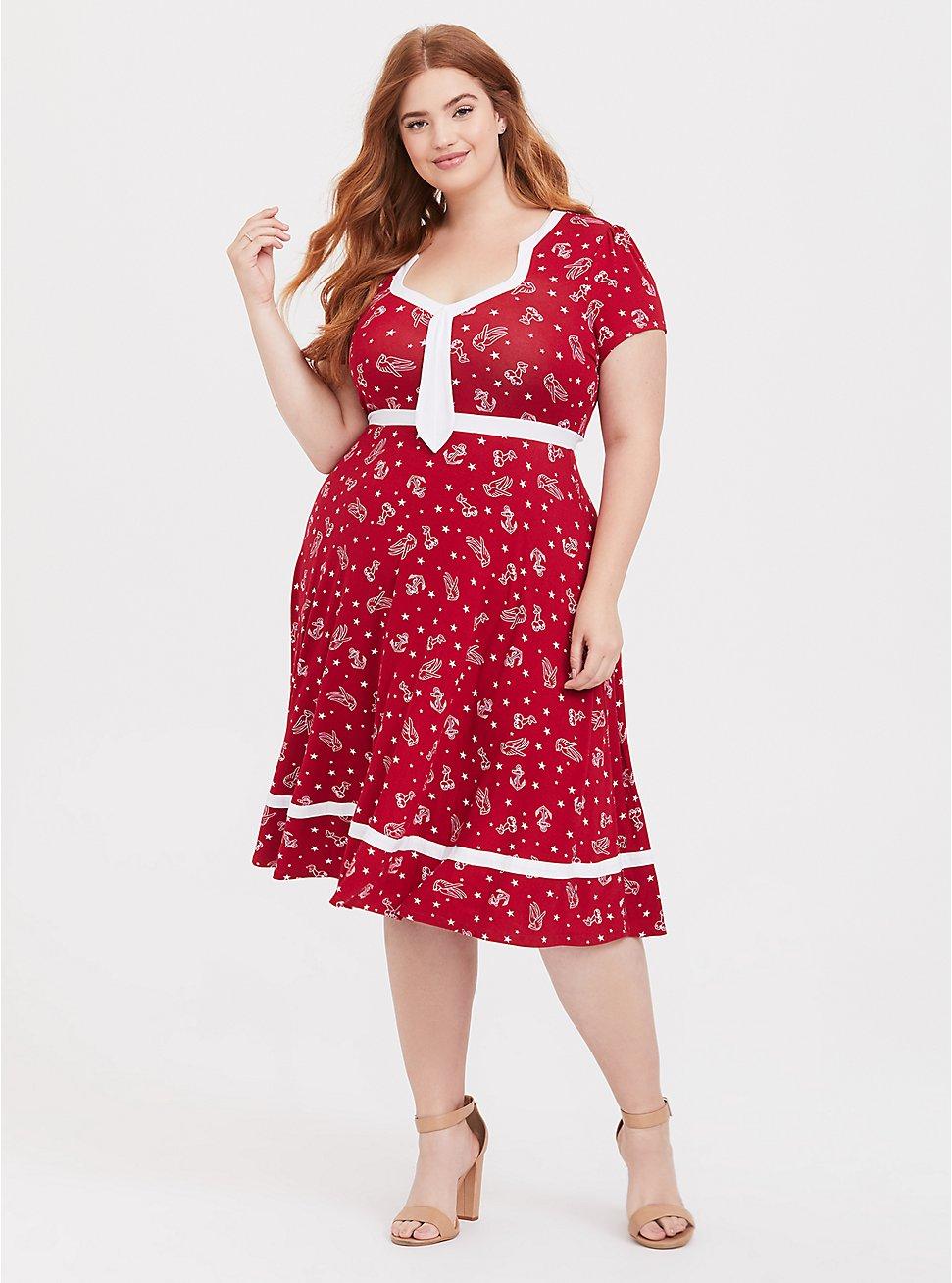 Plus Size Red Anchor Print Skater Dress, MULTI, hi-res