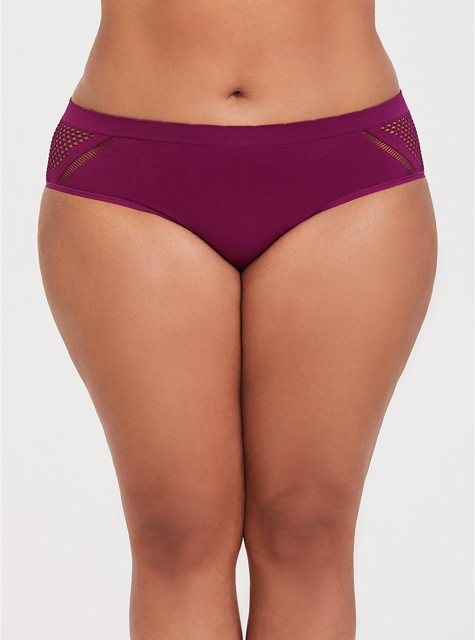 Berry Purple Laser Cut Seamless Hipster Panty, NAVARRA-PURPLE, hi-res