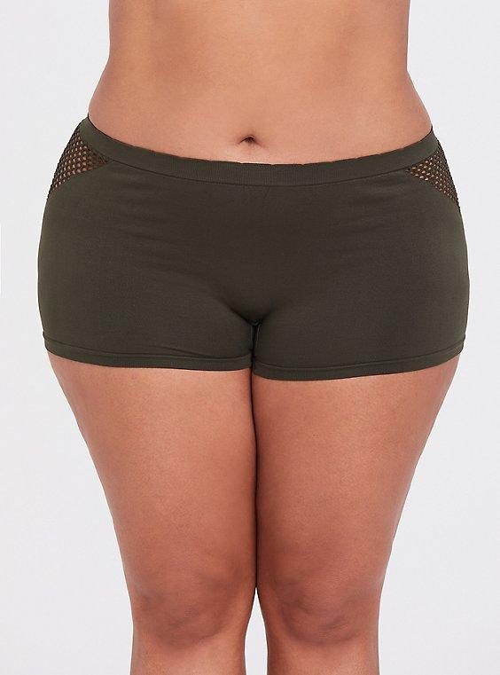 Olive Green Seamless Laser Cutout Boyshort Panty, MOON RIVER BLUE, hi-res