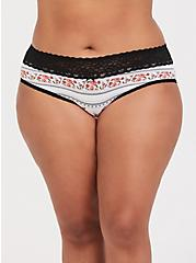White Floral & Black Wide Lace Cotton Hipster Panty, ROSE STRIPES-WHITE, hi-res