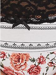 White Floral & Black Wide Lace Cotton Cheeky Panty, ROSE STRIPES-WHITE, alternate