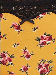 Plus Size Mustard Yellow Floral & Black Lace Cotton Thong Panty, FLORAL - YELLOW, alternate