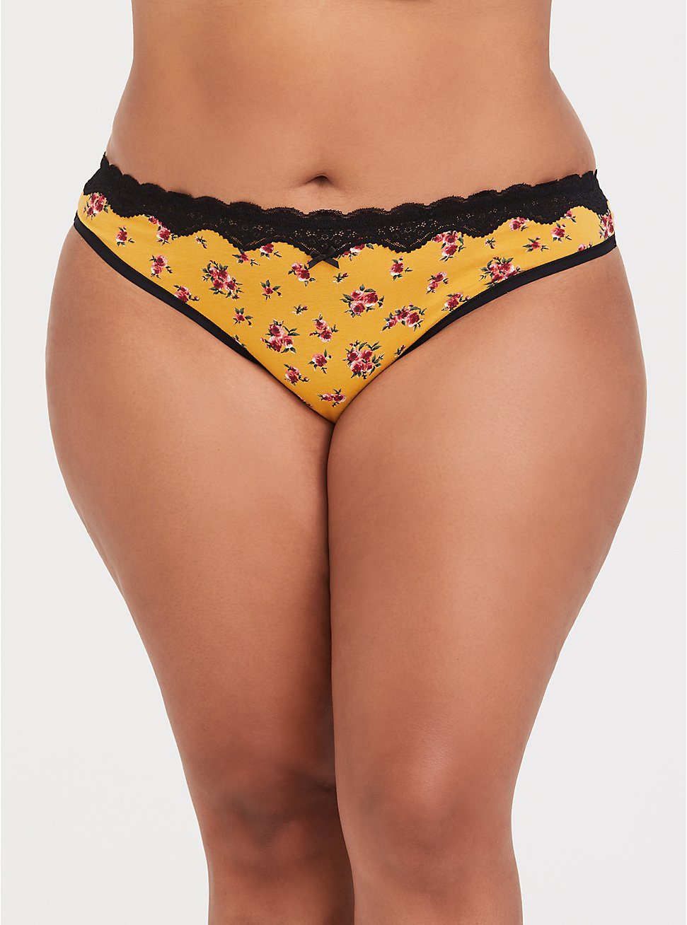 Plus Size Mustard Yellow Floral & Black Lace Cotton Thong Panty, FLORAL - YELLOW, hi-res