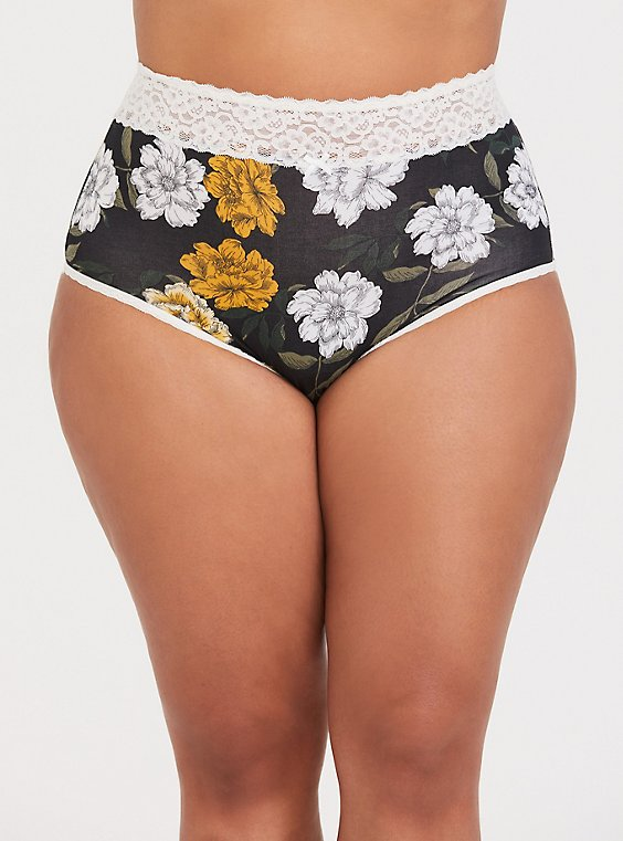Black Floral Cotton & Ivory Lace High Waist Panty, , hi-res