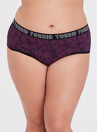 Torrid Logo Burgundy Purple Sugar Skull Cheeky Cotton Panty, SKULL - PURPLE, hi-res