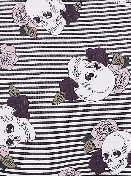 Striped Skull & Rose Lace Cotton Hipster Panty, SKULLS AND STRIPES-GREY, alternate