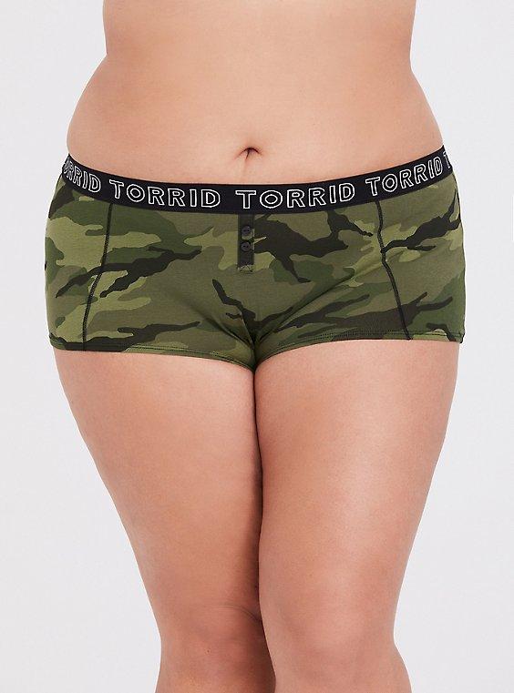 Torrid Logo Camo Print Cotton Boyshort Panty, , hi-res