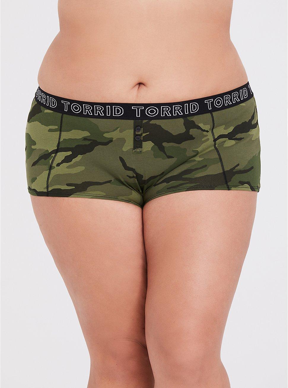 Torrid Logo Camo Print Cotton Boyshort Panty, CAMO-GREEN, hi-res