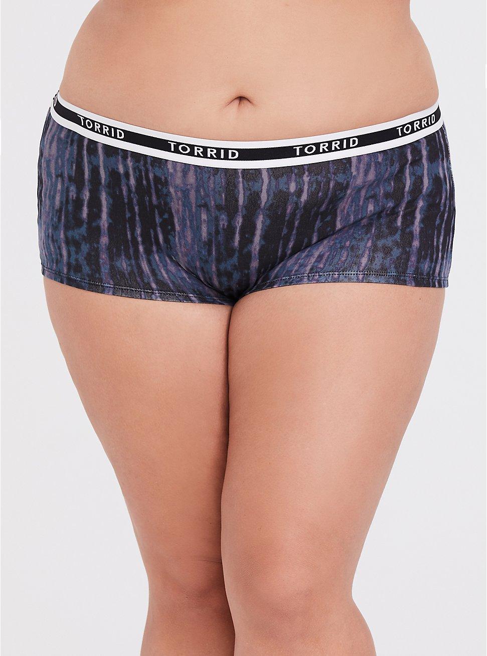 Torrid Logo Purple Tie-Dye Cotton Boyshort Panty, TIE DYE-BLACK, hi-res