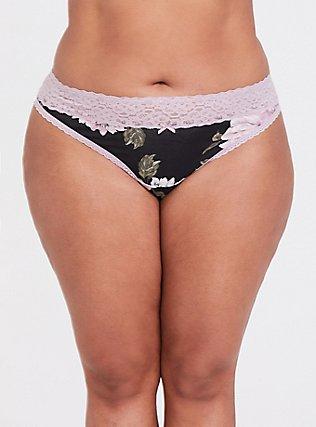 Pink & Black Wide Lace Thong Panty, FLORAL - BLACK, hi-res