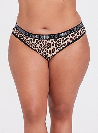 Torrid Logo Leopard Thong Panty, LEOPARD-BROWN, hi-res