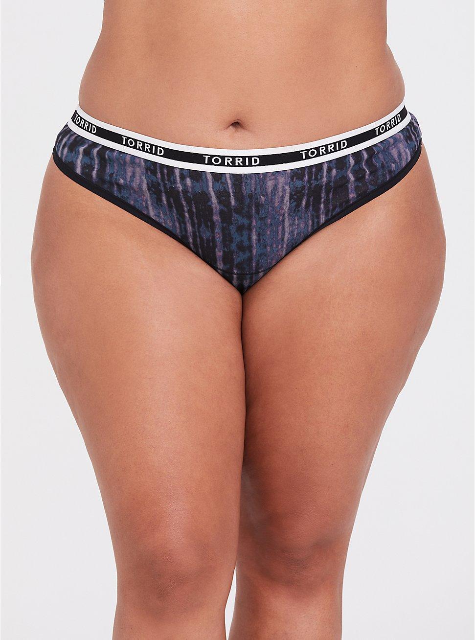 Torrid Logo Tie-Dye Cotton Thong Panty, TIE DYE-BLACK, hi-res