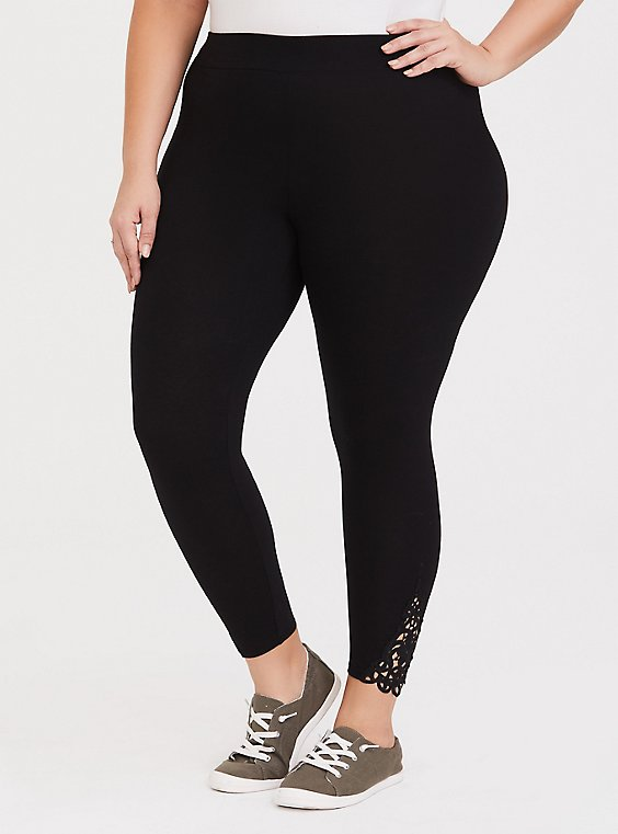 Crop Premium Legging - Crochet Hem Black, , hi-res