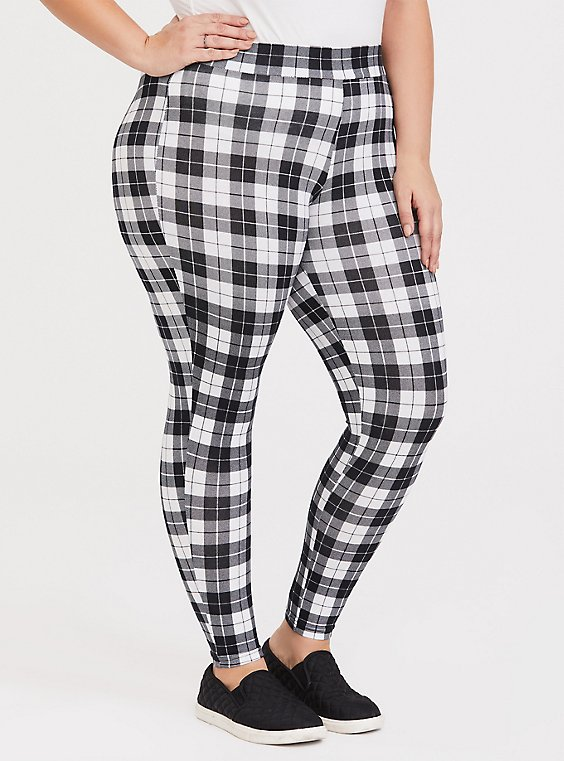 Black & White Plaid Legging, , hi-res