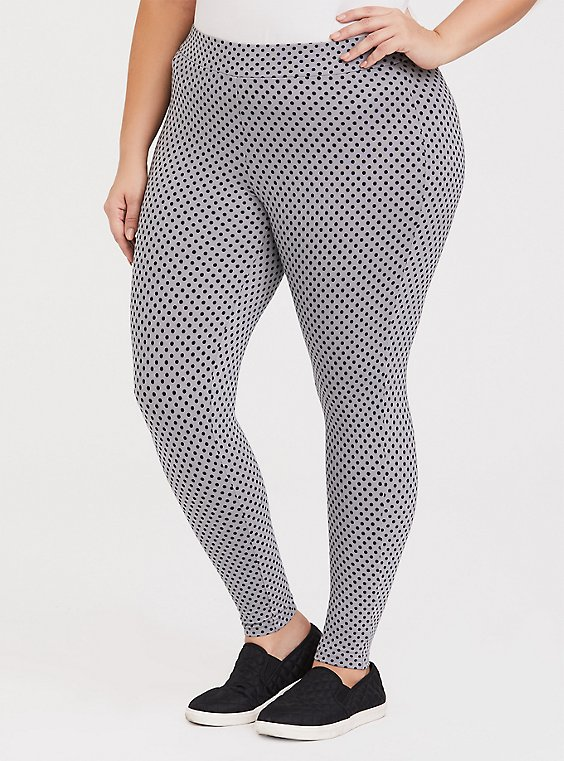 Grey & Black Polka Dot Legging, , hi-res