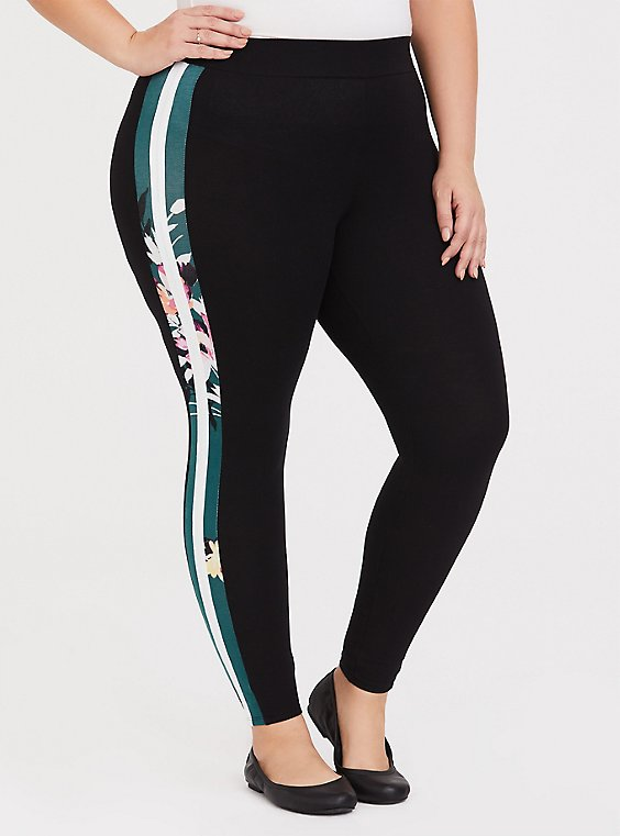 Premium Legging - Floral & Stripe Black, , hi-res