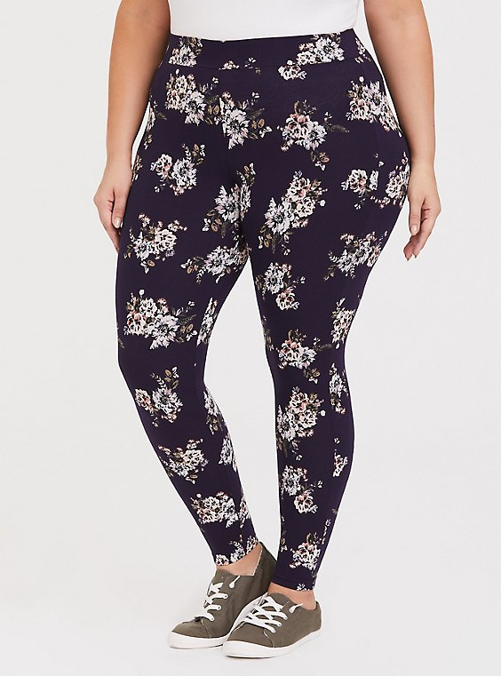 Premium Legging - Floral Deep Purple, , hi-res