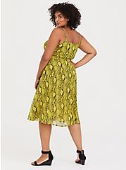 Neon Yellow Snakeskin Print Chiffon Midi Dress, ANIMAL - YELLOW, alternate