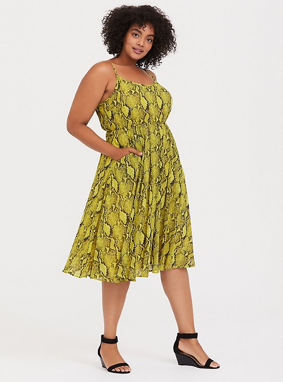 Neon Yellow Snakeskin Print Chiffon Midi Dress, , hi-res