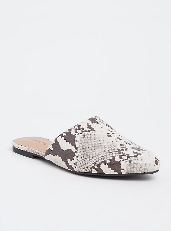 Snakeskin Print Faux Leather Pointed Mule (Wide Width), , hi-res