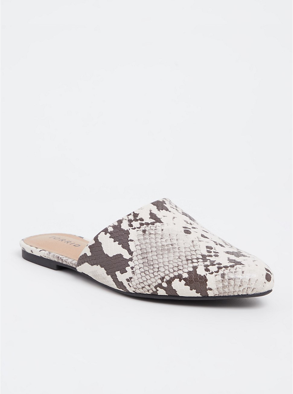 Snakeskin Print Faux Leather Pointed Mule (WW), ANIMAL, hi-res