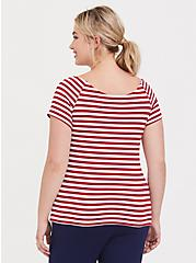 Plus Size White & Red Stripe Bow Boat Neck Foxy Tee, STRIPES, alternate