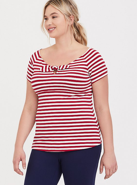 White & Red Stripe Bow Boat Neck Foxy Tee, , hi-res