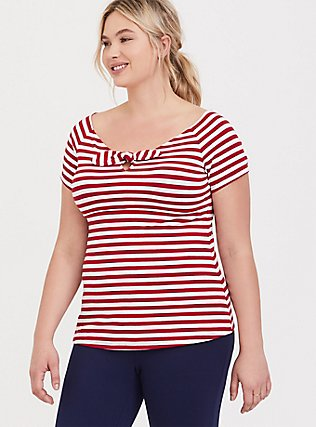 White & Red Stripe Bow Boat Neck Foxy Tee, STRIPES, hi-res