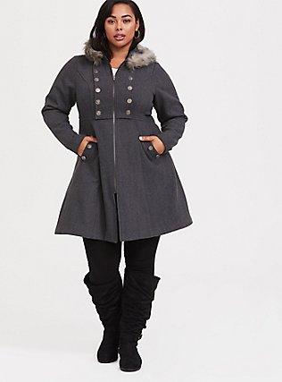 Outlander Jaime Grey Faux Fur Trim Woolen Swing Coat , GREY, hi-res