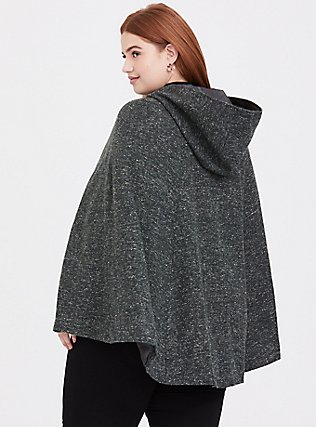 Outlander Green Marled Hooded Toggle Cape, GREEN, alternate