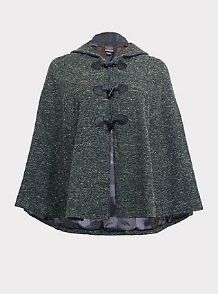 Outlander Green Marled Hooded Toggle Cape, GREEN, flat