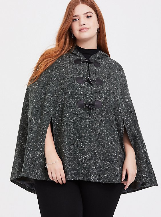 Plus Size Outlander Green Marled Hooded Toggle Cape, , hi-res