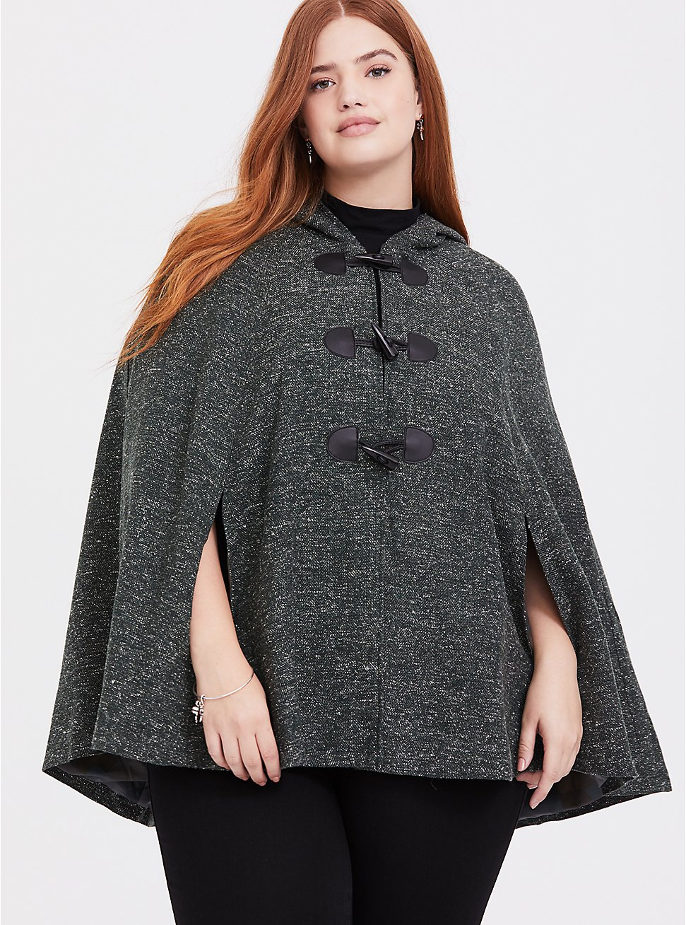 Outlander Green Marled Hooded Toggle Cape, GREEN, hi-res