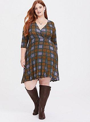 Outlander Tartan Plaid Hacci Wrap Dress, MULTI, alternate