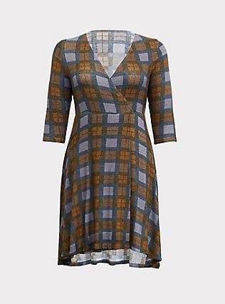Outlander Tartan Plaid Hacci Wrap Dress, MULTI, flat