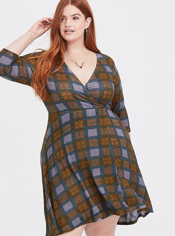 Plus Size Outlander Tartan Plaid Hacci Wrap Dress, , hi-res