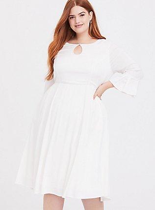 Outlander Claire Ivory Keyhole Dress, CLOUD DANCER, hi-res