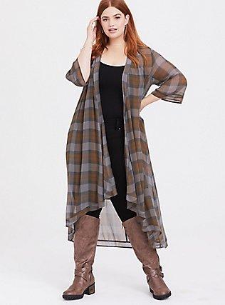 Outlander Tartan Plaid Chiffon Hi-Lo Kimono, MULTI, hi-res