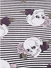 Black Stripe & Skull Cotton Cheeky Panty, SKULLS AND STRIPES-GREY, alternate