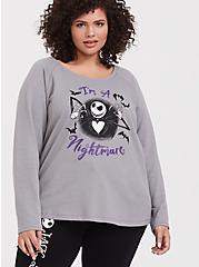 Plus Size Disney The Nightmare Before Christmas I'm A Nightmare Grey Sleep Sweatshirt, EGRET, hi-res