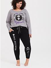 Disney Nightmare Before Christmas Jack Skellington Black Crop Sleep Jogger, DEEP BLACK, hi-res