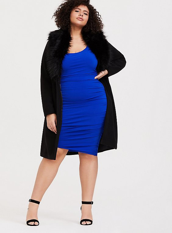 Electric Blue Knit Bodycon Dress, , hi-res