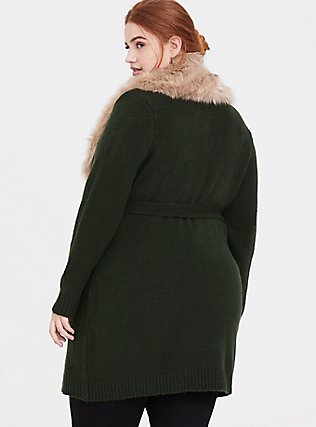 Outlander Green Faux Fur Collar Self-Tie Cardigan, GREEN, alternate
