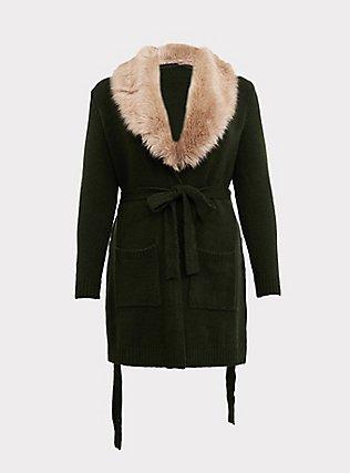 Outlander Green Faux Fur Collar Self-Tie Cardigan, GREEN, flat