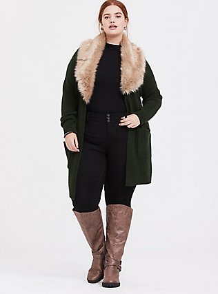 Outlander Green Faux Fur Collar Self-Tie Cardigan, GREEN, hi-res