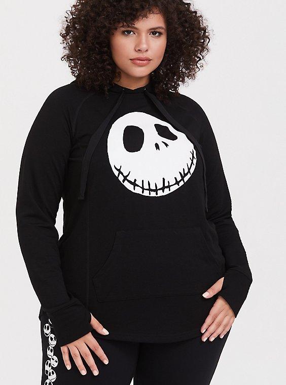 Plus Size Disney Nightmare Before Christmas Jack Skellington Black Active Hoodie, , hi-res