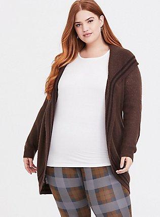 Outlander Chocolate Brown Shawl Collar Self Tie Cardigan, CHOCOLATE BROWN, alternate